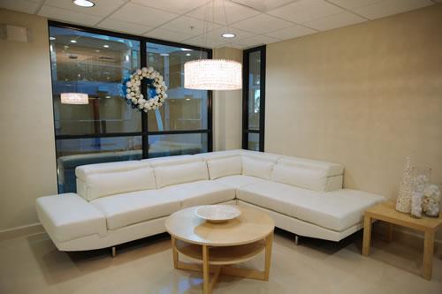 Office reception room white sofa